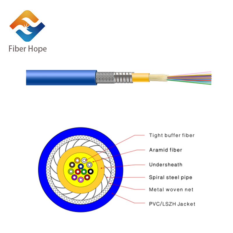 Indoor Distribution Armored Optical Fiber Cable GJSFJV